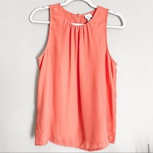 A New Day Sleeveless Sheer High Neck Pink Tank Med